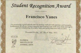 Student Recognition Award, Florida Institute of Animal Arts